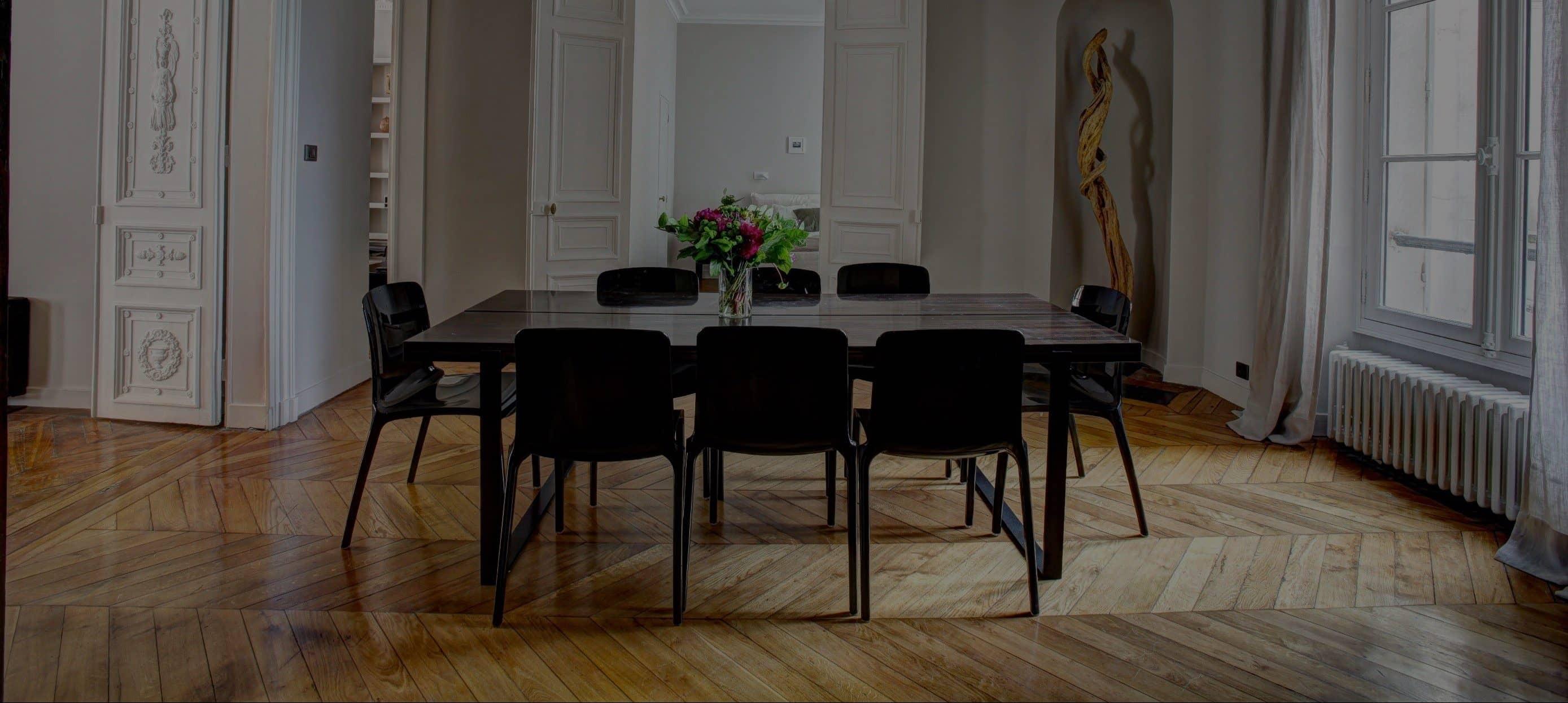 Salon - Salle à manger d'un immeuble en investissement locatif à Paris