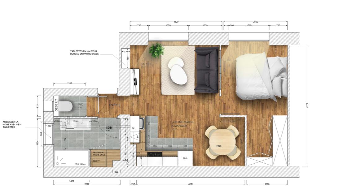 plan projet location meublée Pierre Demours
